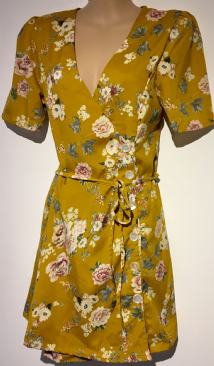 CHEMISTRY MUSTARD FLORAL SIDE BUTTON WRAP TUNIC DRESS SIZE UK 10